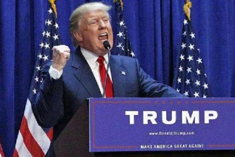 Donald Trump mendeklarasikan pencapresannya di Trump Tower, New York, 16 Juni 2015