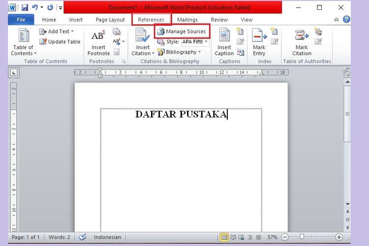 Cara membuat daftar pustaka di Microsoft Word