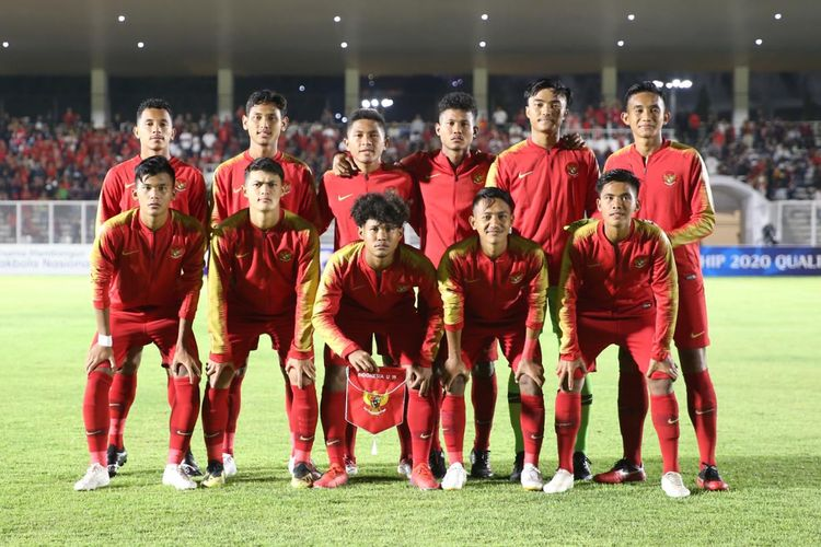 Skuad timnas U-19 Indonesia saat menghadapi Timor Leste pada ajang Kualifikasi Piala Asia U-19 di Stadion Madya, Senayan, Jakarta, Rabu (6/11/2019).