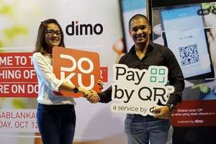 Kerja sama Doku dan Dimo dalam memberikan layanan pembayaran dengan QR code, Rabu (12/10/2016).