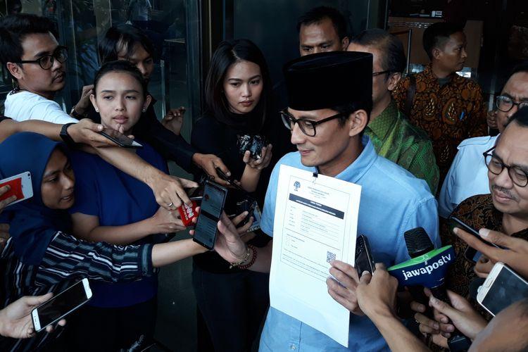 Calon wakil presiden Sandiaga Uno dan Sudirman Said di Gedung KPK Jakarta, Selasa (14/8/2018).