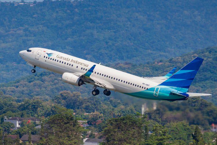 Ilustrasi pesawat maskapai penerbangan Garuda Indonesia.
