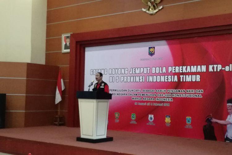 Sekretaris Jenderal Kementerian Dalam Negeri (Kemendagri) Hadi Prabowo dalam pidatonya di kantor Dirjen Dukcapil, Jakarta, Minggu (20/1/2019).