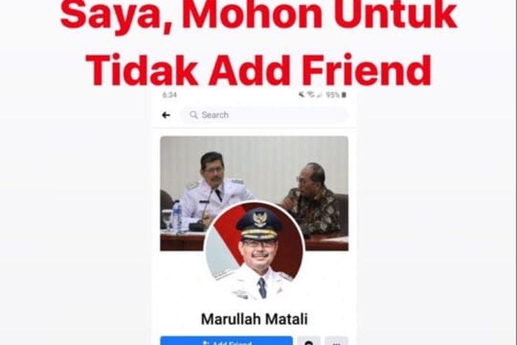 Seseorang tak dikenal mencatut nama Wali Kota Jakarta Selatan Marullah Matali di media sosial Facebook.