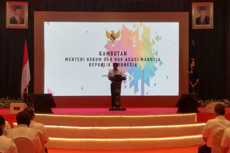 Menteri Hukum dan Hak Asasi Manusia Yasonna Laoly di Kemenkumham, Jakarta, Selasa (18/6/2019)