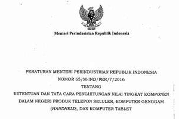 Sampul depan salinan Permenperin No 65 Tahun 2016