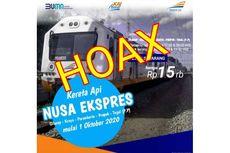 [HOAKS] Tidak Ada KA Nusa Ekspres Cilacap-Tegal yang Beroperasi Mulai 1 Oktober