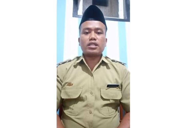 Tangkapan layar video Kepala Desa Talunombo, Kecamatan Sapuran, Wonosobo, Badarudin, yang akan menyumbangkan satu bulan gajinya untuk penanganan virus corona.