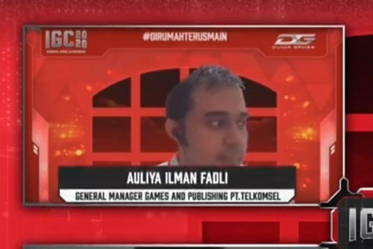General Manager Games & Publishing Telkomsel, Auliya Ilman Fadli, dalam konferensi pers pembukaan babak playoff IGC 2020, Senin (24/8/2020).