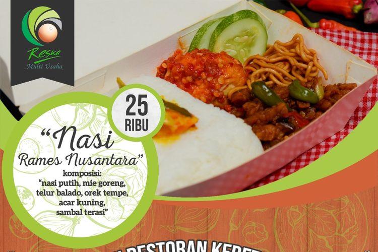 Menu Nasi Rames Nusantara yang ada di Restoran Kereta Api dijual dengan harga Rp 25.000.