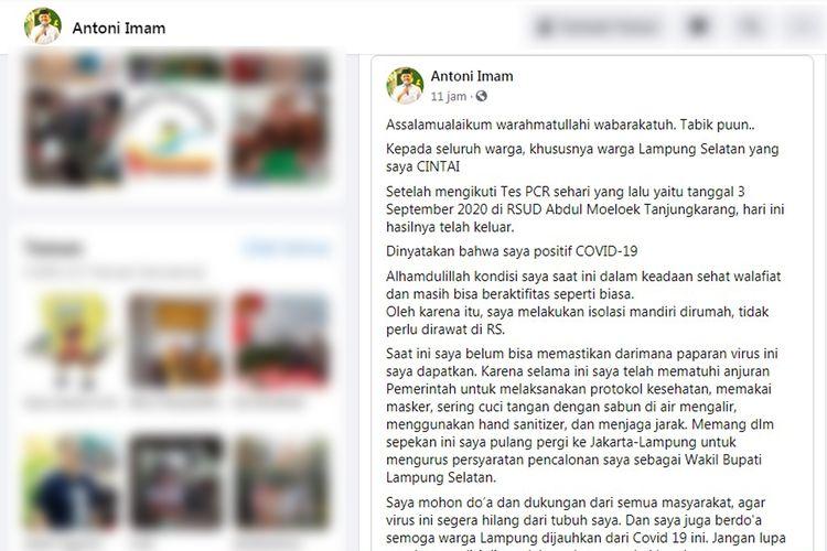 Bakal calon wakil bupati Pilkada 2020 Lampung Selatan, Antoni Imam positi Covid-19 (FOTO: Tangkapan layar/Facebook)