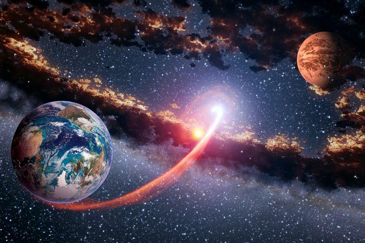Ilustrasi Mars dan Bumi