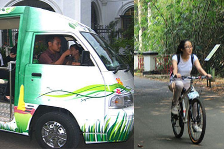Wisatawan selain bisa berjalan kaki, juga menggunakan sepeda, dan mobil wara-wiri untuk menjelajahi Kebun Raya Bogor.
