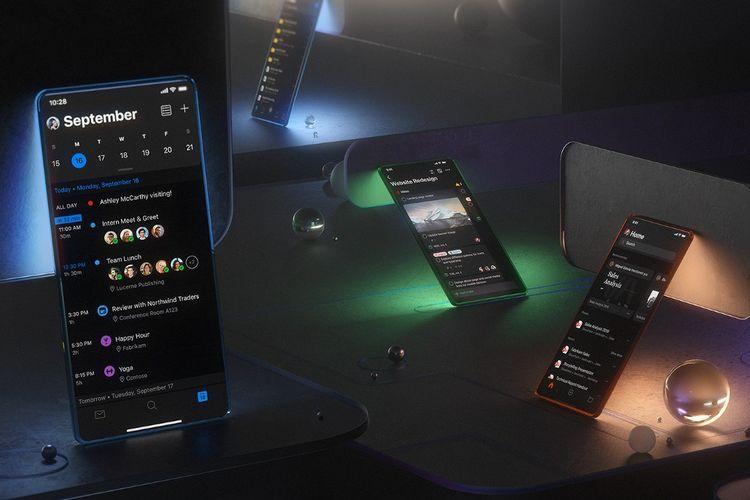 Ilustrasi Microsoft Office smartphone dalam mode gelap.