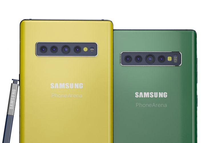 Ilustrasi render Galaxy Note 10 tampak belakang, dilengkapi dengan S-Pen