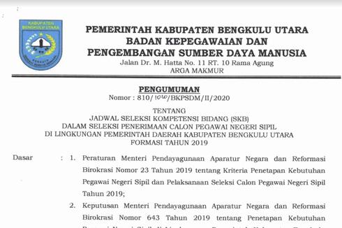 CPNS 2019, Ini Jadwal Pelaksanaan SKB Pemkab Bengkulu Utara