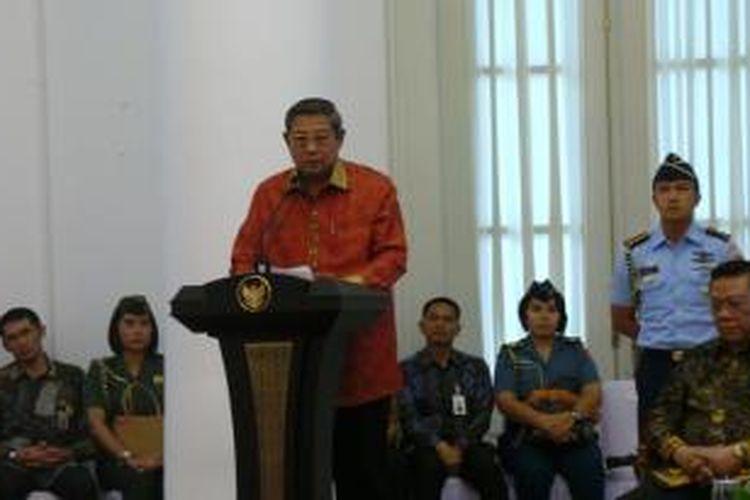 Presiden Susilo Bambang Yudhoyono menyampaikan sambutan pada peluncuran BPJS kesehatan dan ketenagakerjaan di Istana Bogor, Selasa (31/12/2013).