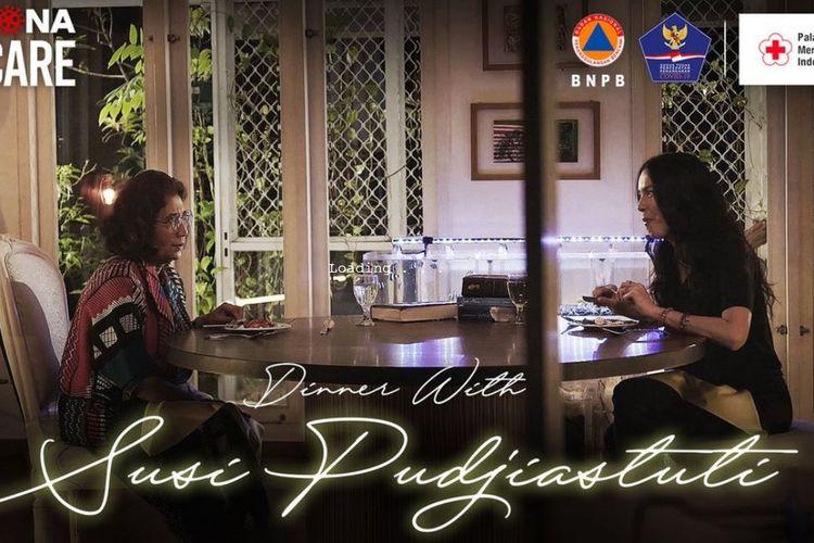 Perbincangan hangat antara Sophia Latjuba dengan mantan Menteri Kelautan dan Perikanan Susi Pudjiastuti dalam program Dinner With yang ditayangkan Mola TV.