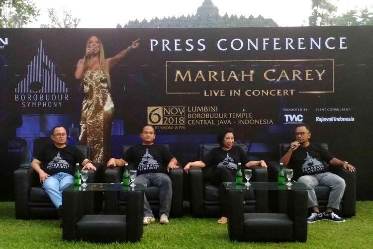 Jumpa pers manajemen PT.  TWCB terkait konser diva internasional Mariah Carey di Candi Borobudur, Kamis (12/4/2018) sore. Konser akan digelar pada 6 November 2018.