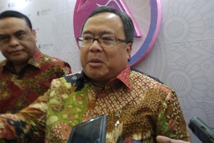Menteri PPN/ Kepala Bappenas Bambang Brodjonegoro saat menjelaskan mekanisme pemindahan ibu kota baru di Jakarta, Kamis (29/8/2019).