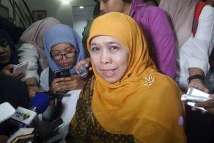 Menteri Sosial Khofifah Indar Parawansa saat ditemui di Kantor MMD Initiative, Matraman Dalam, Jakarta Pusat, Rabu (22/6/2016).