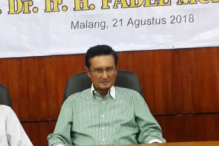 Politisi Partai Golkar, Fadel Muhammad saat konferensi pers jelang pengukuhan gelar guru besar di Universitas Brawijaya, Kota Malang, Selasa (21/8/2018)