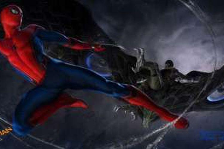Konsep adegan pertarungan Spider-Man melawan Vulture dalam film Spider-Man: Homecoming.
