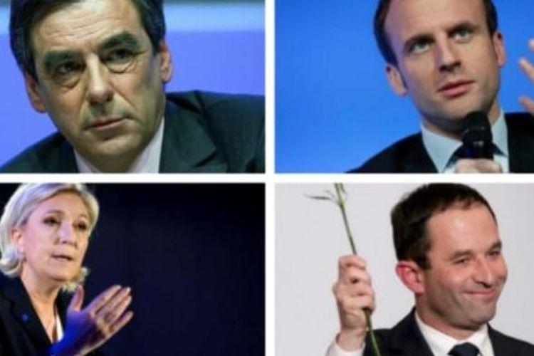 Empat politisi yang akan bersaing dalam pemilihan presiden Perancis 2017, searah jarum jam, Francois Fillon, Emmanuel Macron, Benoit Hamon, dan Marine Le Pen.