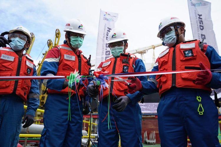 General Manager Refinery Unit V Balikpapan Eko Sunarno beserta jajaran melepas kapal MT. Ridgebury Katherine Z yang mengangkut 31,800 kilo liter (KL) produk High Speed Diesel 50 PPM Sulphur (HSD 0.005-%S) menuju Malaysia, Sabtu (5/9/2020)