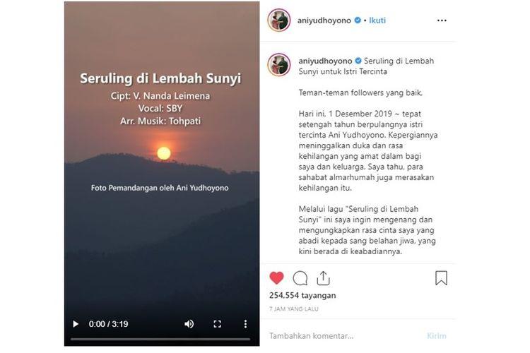 Tangkapan layar unggahan video tembang Seruling di Lembah Sunyi di akun Instagram Ani yudhoyono.