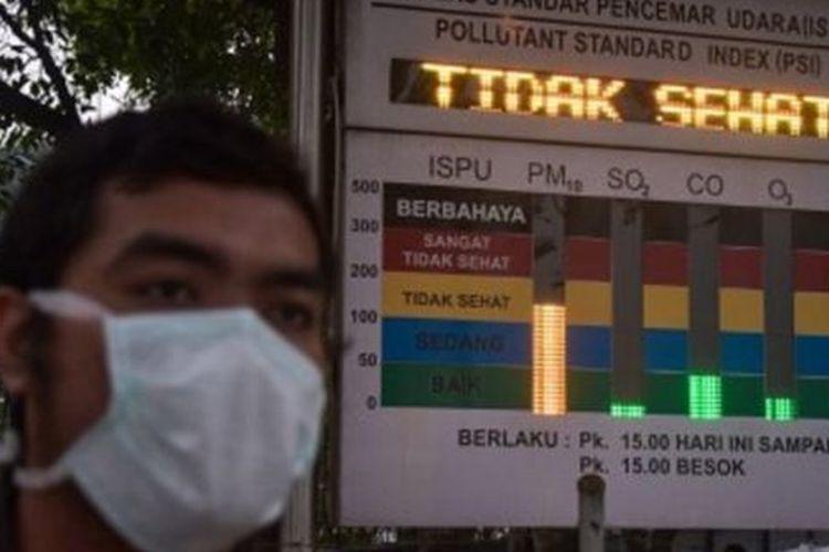 Seorang warga yang mengenakan masker melintas di dekat papan Indeks Standar Pencemar Udara (ISPU) di Kota Pekanbaru, Riau, Selasa (10/9/2019). Dinas Lingkungan Hidup Kota Pekanbaru menyatakan kualitas udara menurun jadi tidak sehat akibat tercemar asap kebakaran hutan dan lahan (Karhutla).