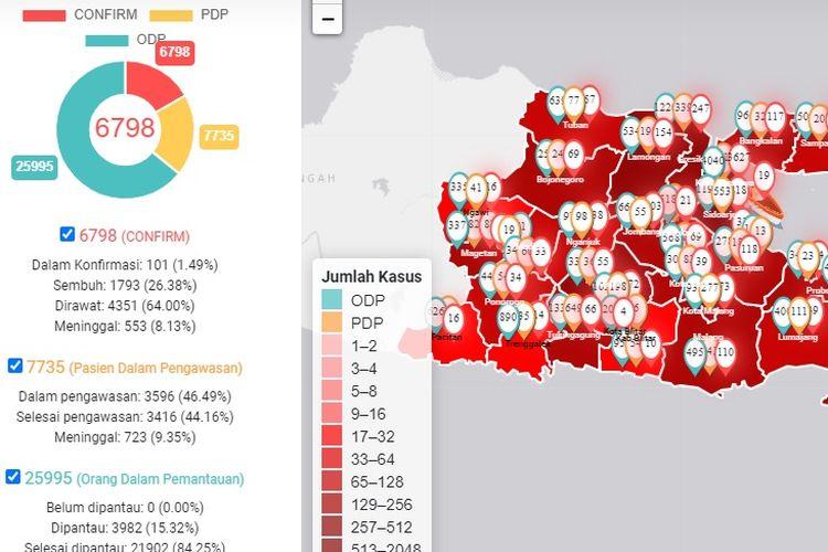 Peta sebaran Covid-19 di Jawa Timur 10 Juni 2020.