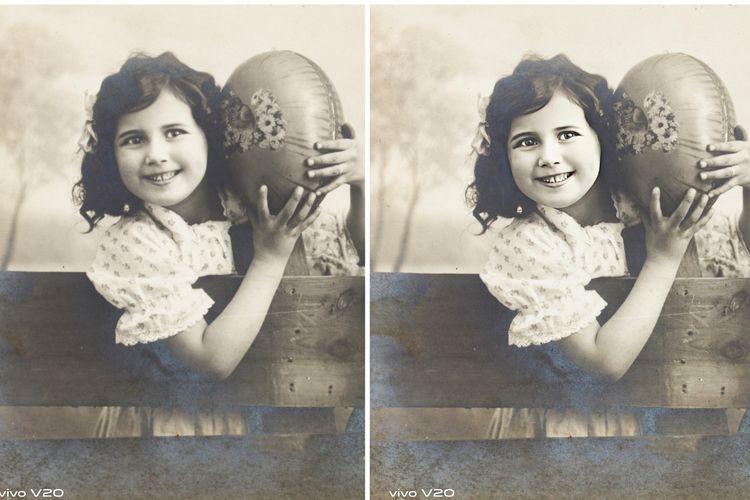 Tampilan foto yang telah diedit menggunakan Memory Recaller. Foto asli ada di sebelah kiri, sementara foto yang sudah diedit ada di sebelah kanan.