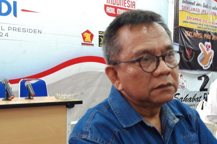 Caleg DPRD DKI Jakarta M. Taufik di Seknas Prabowo-Sandi, Menteng, Jakarta Pusat, Selasa (16/4/2019)