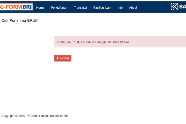 Cara cek status penerima bantuan UMKM  lewat situs BRI