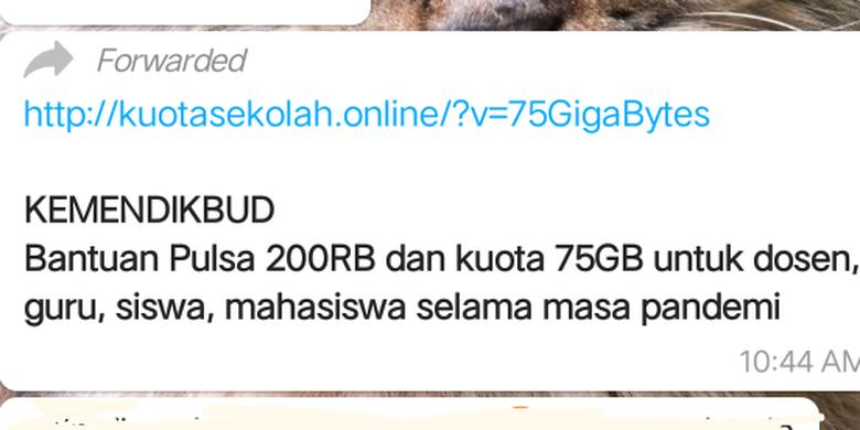 Tangkapan layar pesan berantai WhatsApp tentang subsidi pulsa dan kuota dari Kemendikbud
