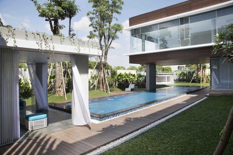 Desain kolam renang Selat House di Surabaya karya Das Quadrat.