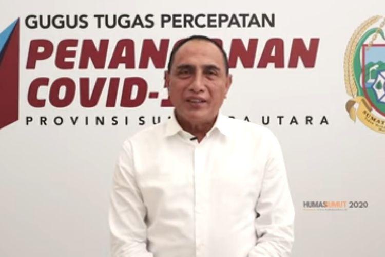 Tangkapan layar Gubernur Sumut Edy Rahmayadi mengimbau masyarakat untuk tidak mudik dan menyarankan silaturahmi menggunakan video call, media sosial dan teknologi lainnya. Hal tersebut untuk memutus rantai penyebaran Covid-19.