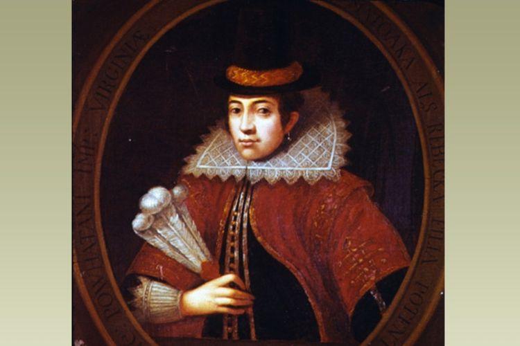 Potret Pocahontas dalam pakaian Eropa ketika berusia 21 tahun. Dia meninggal beberapa bulan kemudian. (BBC)