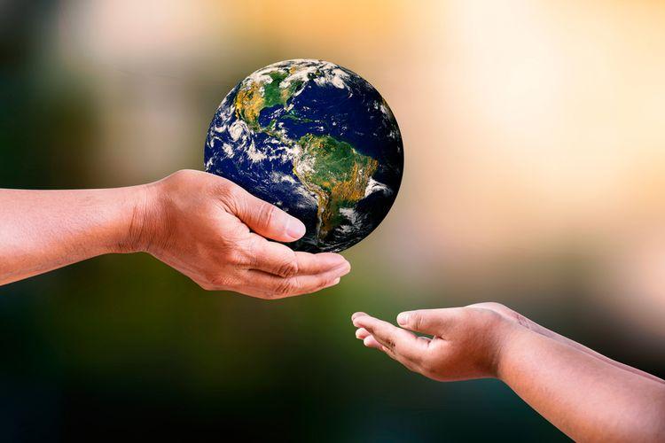 Konsep hari Bumi atau earth day, ilustrasi.