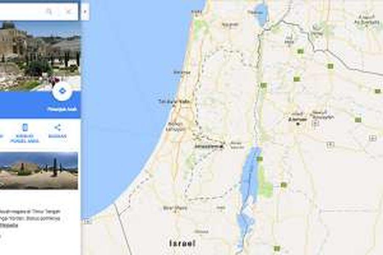 Label Palestina tak ditemui di peta layanan Google Maps yang dibuka lewat peramban desktop.
