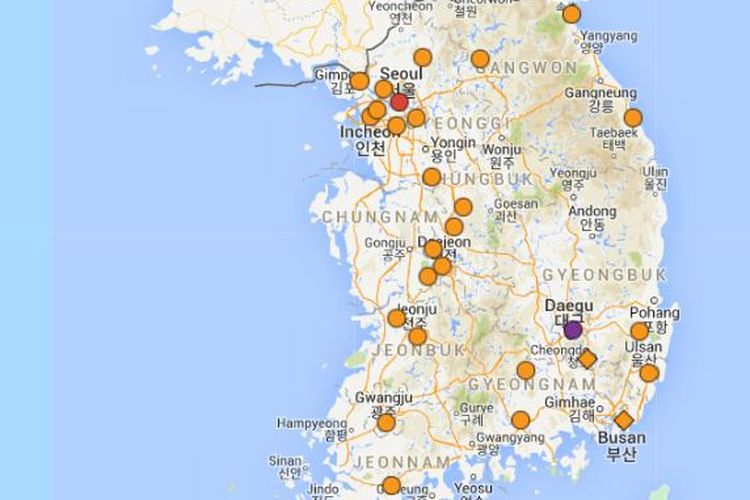 Tangkapan layar sebaran terkini virus corona di Korea Selatan