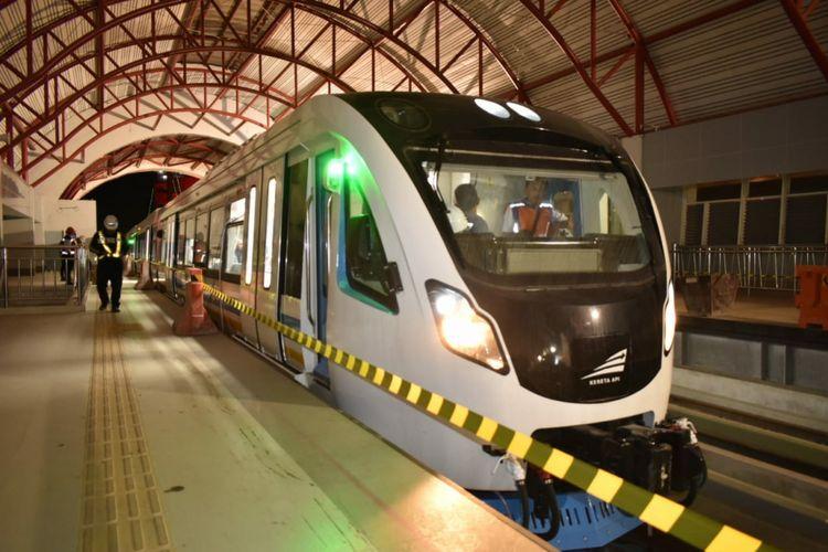 Kereta LRT saat berada di Depo Jakabaring, Palembang, Sumatera Selatan.