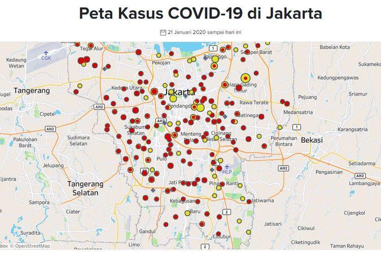 Peta kasus Covid-19 di Jakarta. Titik merah menandakank kasus positif corona, sementara titik kuning merupakan sebaran suspect kasus corona. Hampir seluruh kelurahan di Jakarta terinfeksi virus ini.