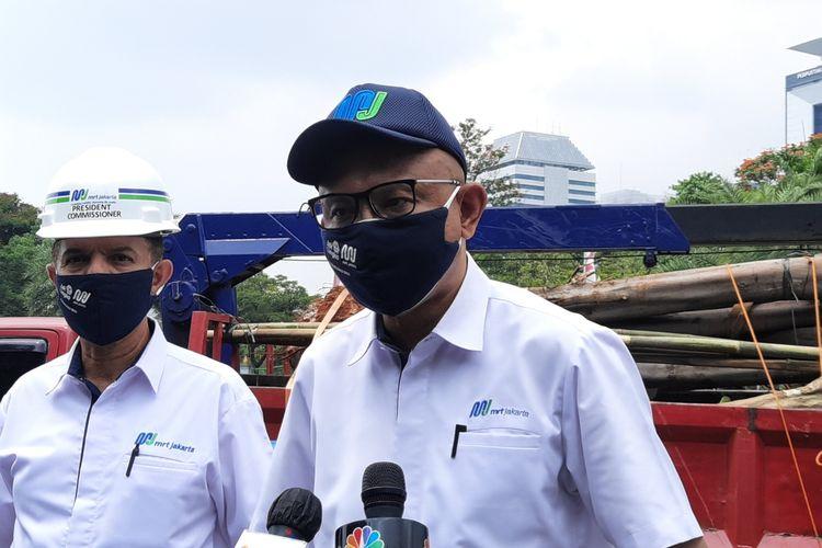 Direktur Utama PT MRT Jakarta William P Sabandar di Monas, Jakarta Pusat, Selasa (11/8/2020)