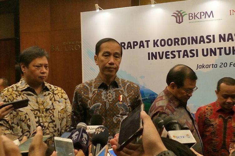 Presiden Joko Widodo usai menghadiri Rakornas BKPM