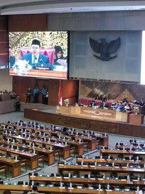 Suasana Rapat Paripurna DPR di Kompleks Parlemen, Senayan, Jakarta, Kamis (22/8/2019).