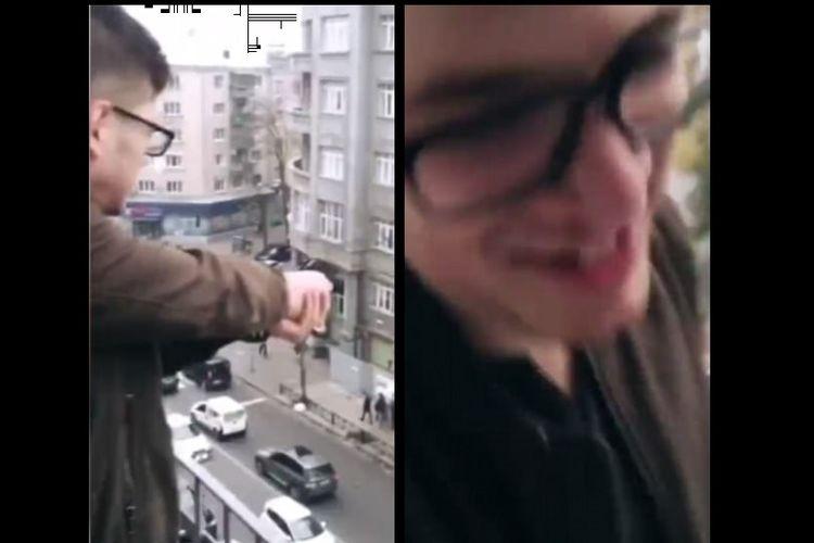 Potongan video pemuda yang melakukan penembakan di Ukraina dan ekspresi pelaku yang sedang tersenyum.