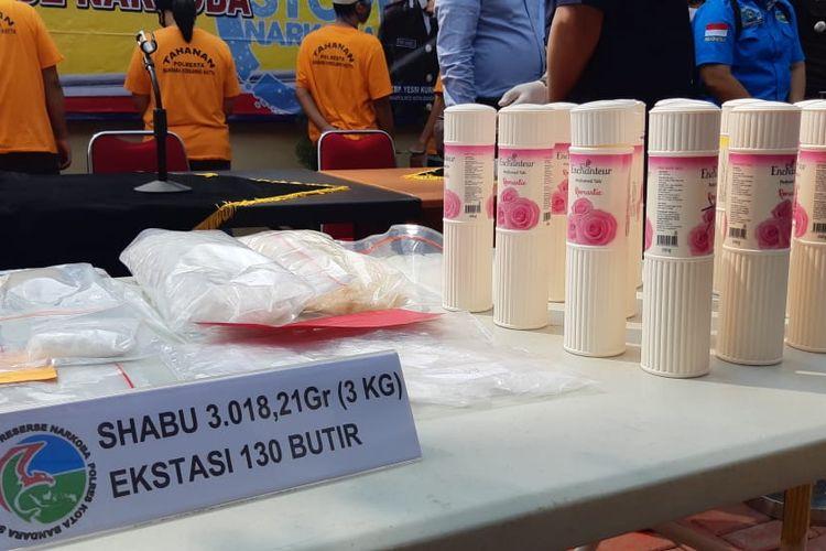 Pemusnahan barang bukti 3.018 gram sabu di Polres Bandara Soekarno-Hatta, Kamis (11/6/2020)