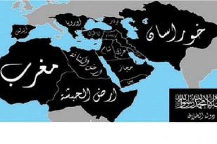 Peta yang ditulis dalam bahasa Arab ini  mengungkap ambisi ISIS menguasai dunia dalam 10 tahun.